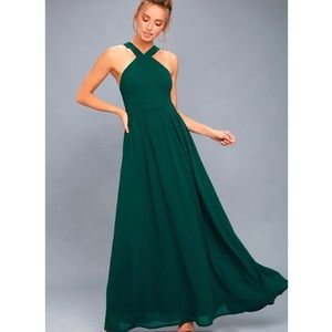 New Lulus Air of Romance Forest Green Maxi Dress S